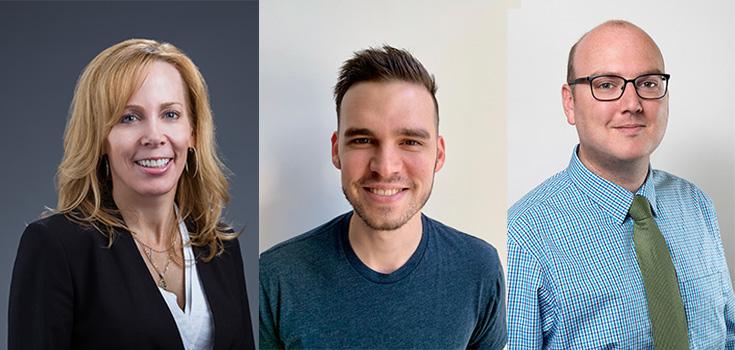 Heather Abbott (left), Mattieu Gamache-Asselin (center), Justin Tudor (right).