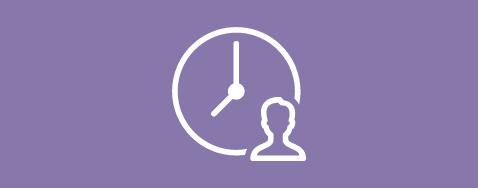 Icône d'une personne et une horloge sur un fond mauve pastel