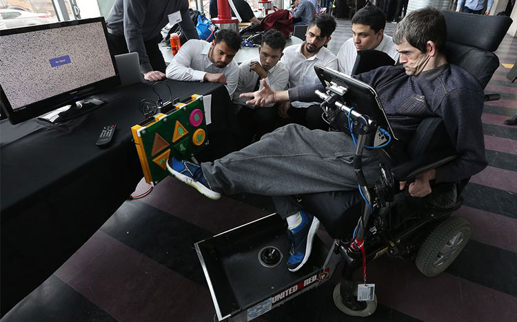Students designed foot-controlled TV remote for a man with cerebral palsy