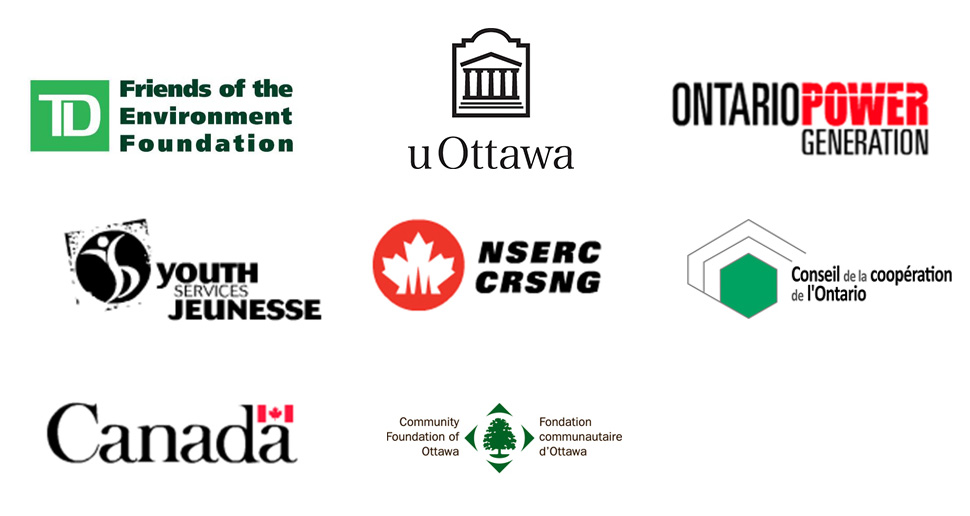 TD Friends of the Environment Foundation, uOttawa, Ontario Power Generation, Youth Services Jeunesse, NSERC-CRSNG, Conseil de la coopération de l'Ontario, Government of Canada, Community Foundation of Ottawa