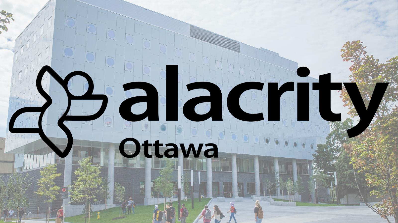 Logo d'Alacrity Ottawa devant une image du Complexe STEM de uOttawa