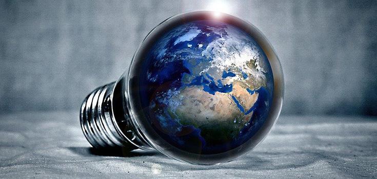 Illustration d'une ampoule avec la Terre remplaçant la partie du haut