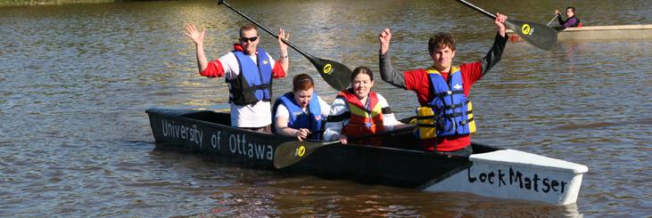 students in concrete canoe