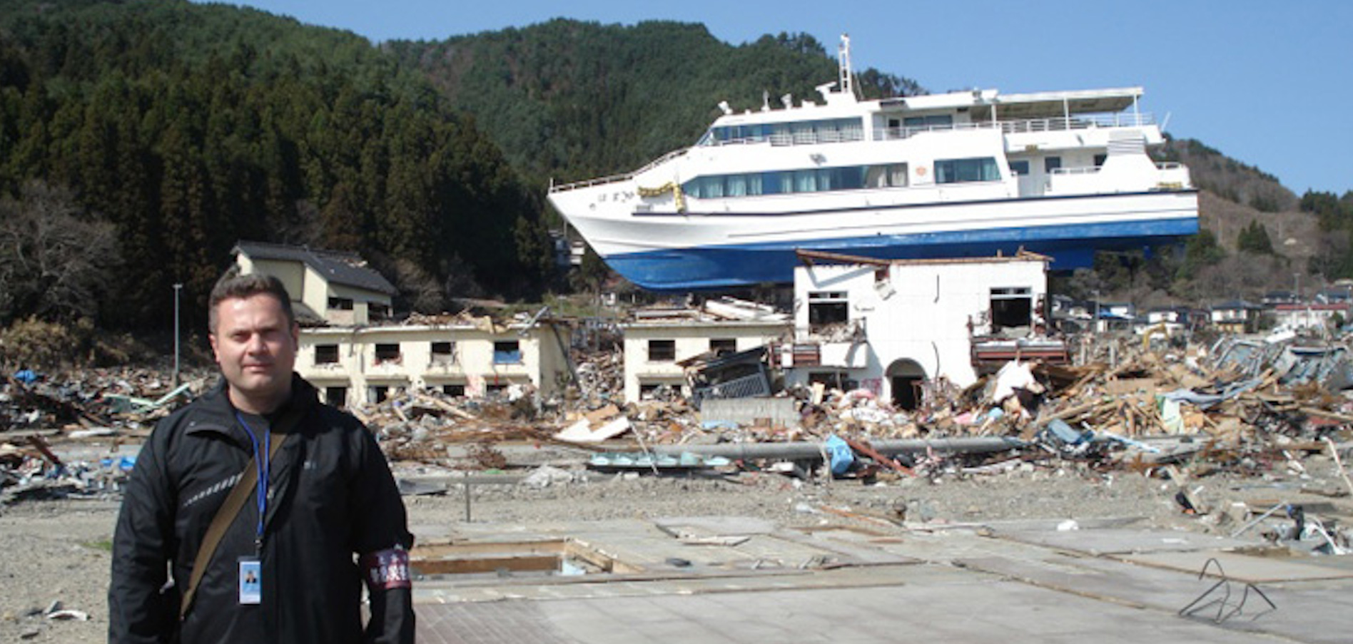 Ioan Nistor poses with infrastructures destroyed during the 2011 Tohoku tsunami