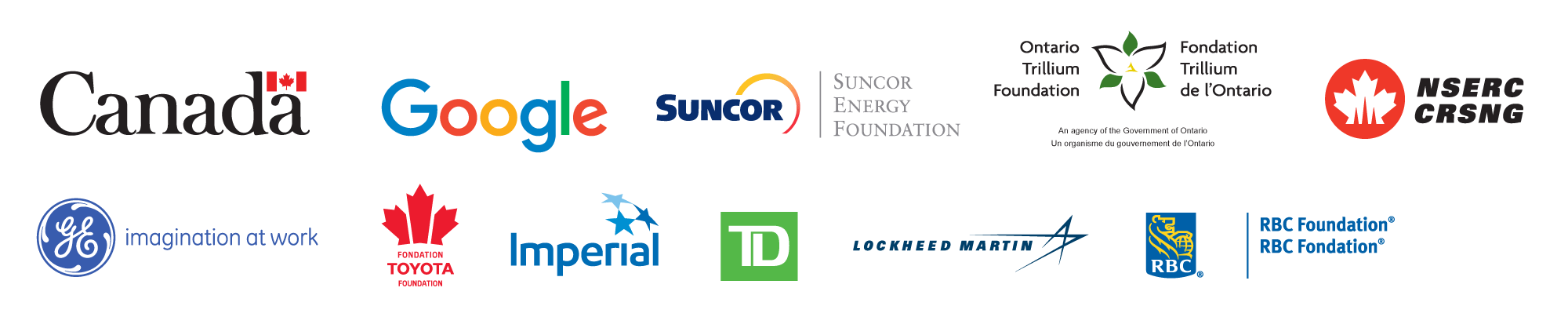 Government of Canada, Google, Suncor Energy Foundation, Ontario Trillium Foundation, General Electric, NSERC-CRSNG, Toyota Foundation, TD, Lockheed Martin, Imperial Oil, GE, RBC
