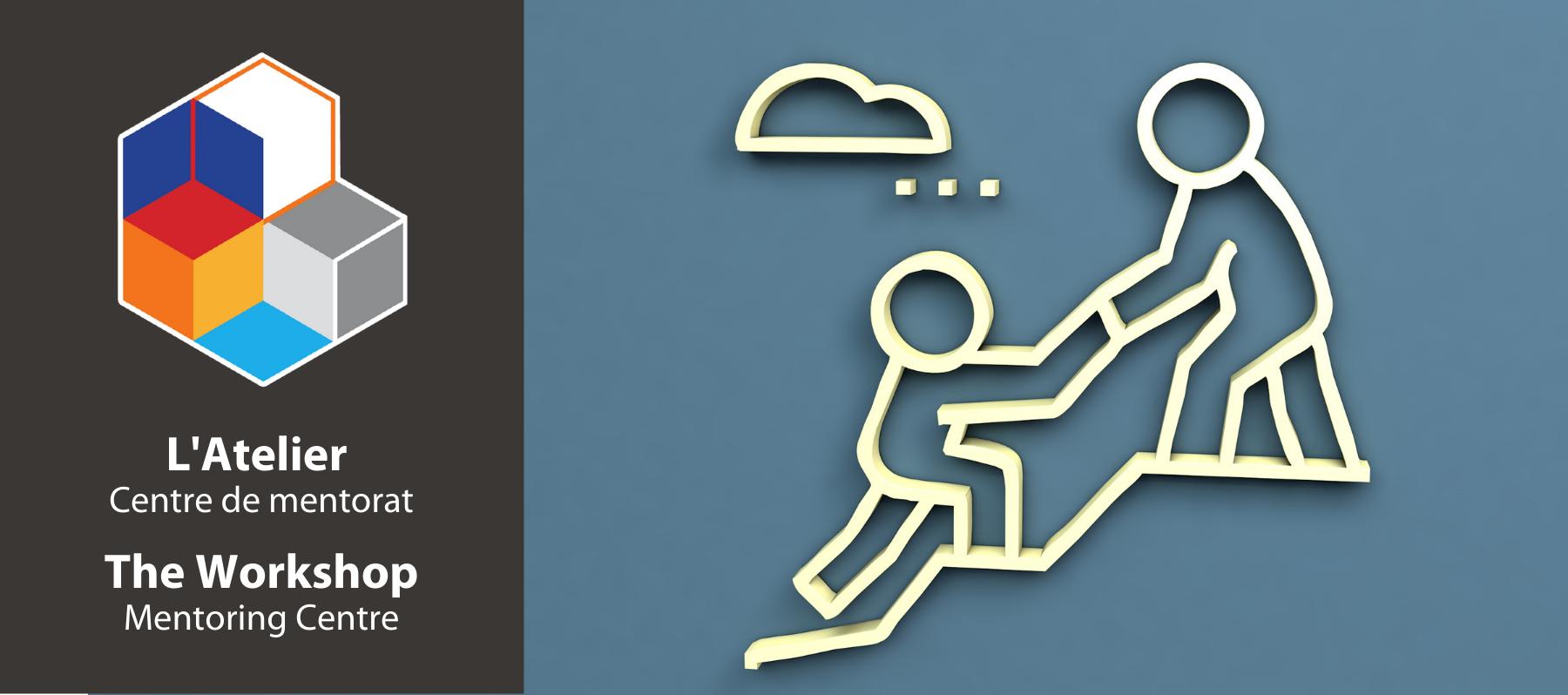 Icone d'une personne en aidant une autre et le logo de l'Atelier, Centre de mentorat