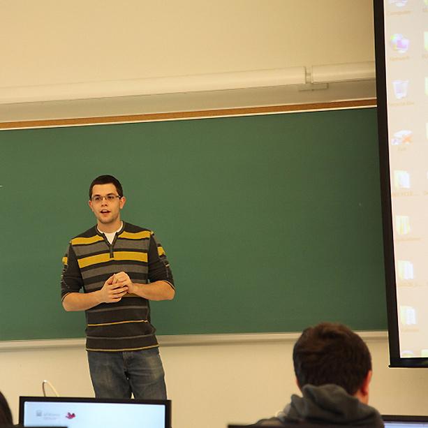 student teaching a class