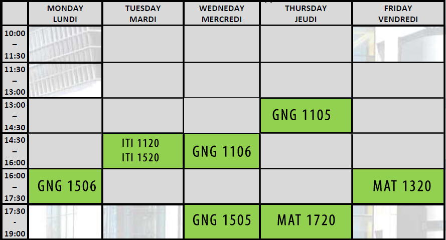 Individual schedule. For details contact engineering.mentor@uottawa.ca