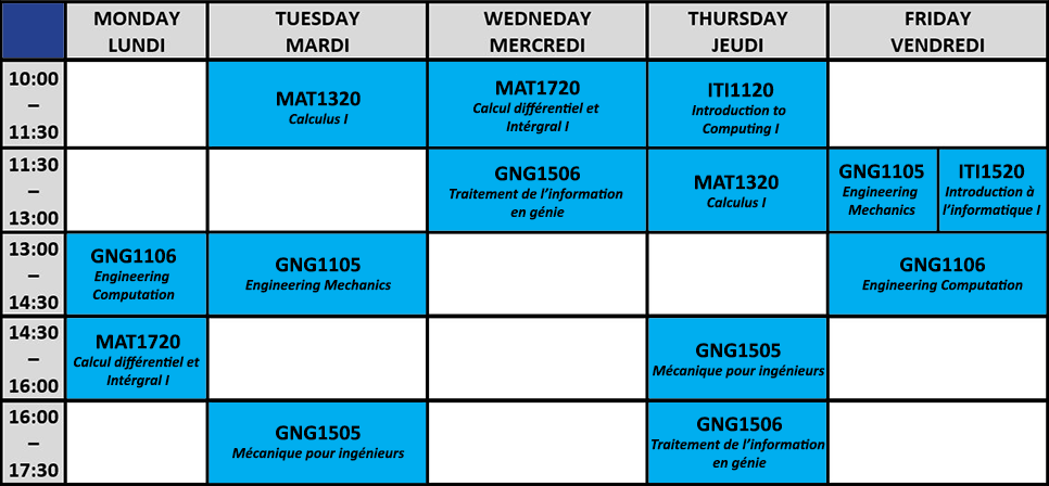 Study group schedule. For details contact engineering.mentor@uottawa.ca
